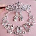 Континентальный белый горный хрусталь ожерелье серьги свадебный венец из трех частей свадебное платье свадебный волосы ювелирные изделия с ювелирные изделия