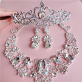 Continental white rhinestone necklace earrings bridal crown three-piece wedding dress bridal hair jewelry with jewelry