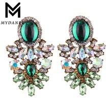 Mydaner новые винтажные большие Кристальные серьги капли с цветком