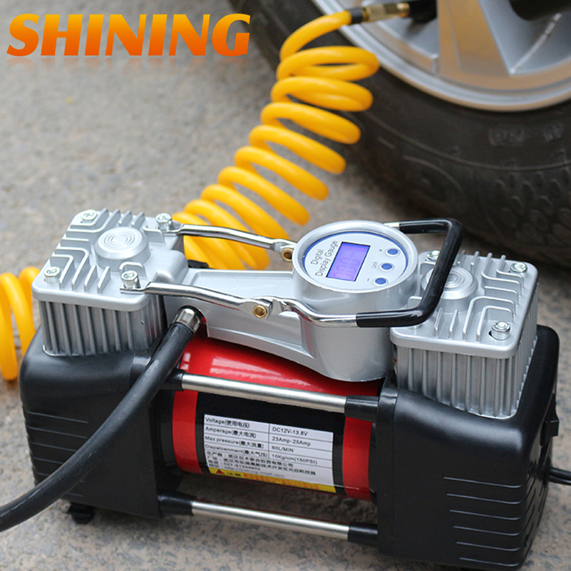 Portable air compressor for car tyres headlamp torch