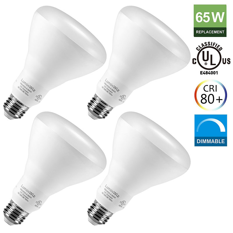 BR30 LED Bulbs,9W (65W Equivalent),Dimmable 5000K 750lm Crystal White Dimmable Flood Light Bulb,Medium Base (E26),Dimma 15w br40 led light bulb not dimmable e27 e26 screw base wide beam angle 120 degrees 100w halogen bulb equivalent
