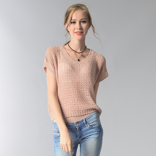 2018 summer sweater Europe and USA style hollow lace sexy knit pullover  women o,neck pink casual sweaters and pullovers YH7001