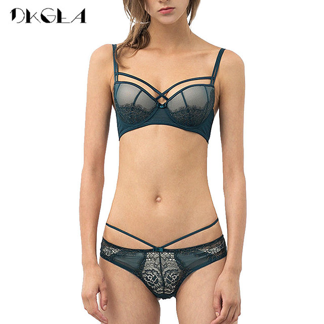 New Top Sexy Underwear Push up Bra Set Cotton Brassiere Deep V Black Lace Bra and Panty Sets Embroidery Women Lingerie Set Green 3