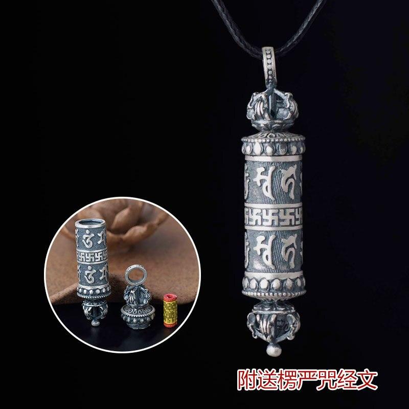 990 collier pendentif en argent Sterling Six mots Mantras femmes rétro Vintage Tibet prière sanscrit amulette pendentif cadeaux