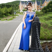 Robe De Soiree Evening Party Dress Real Photos Royal Blue Beaded Cap sleeve Open back Party Occasion Formal Long Evening Dresses