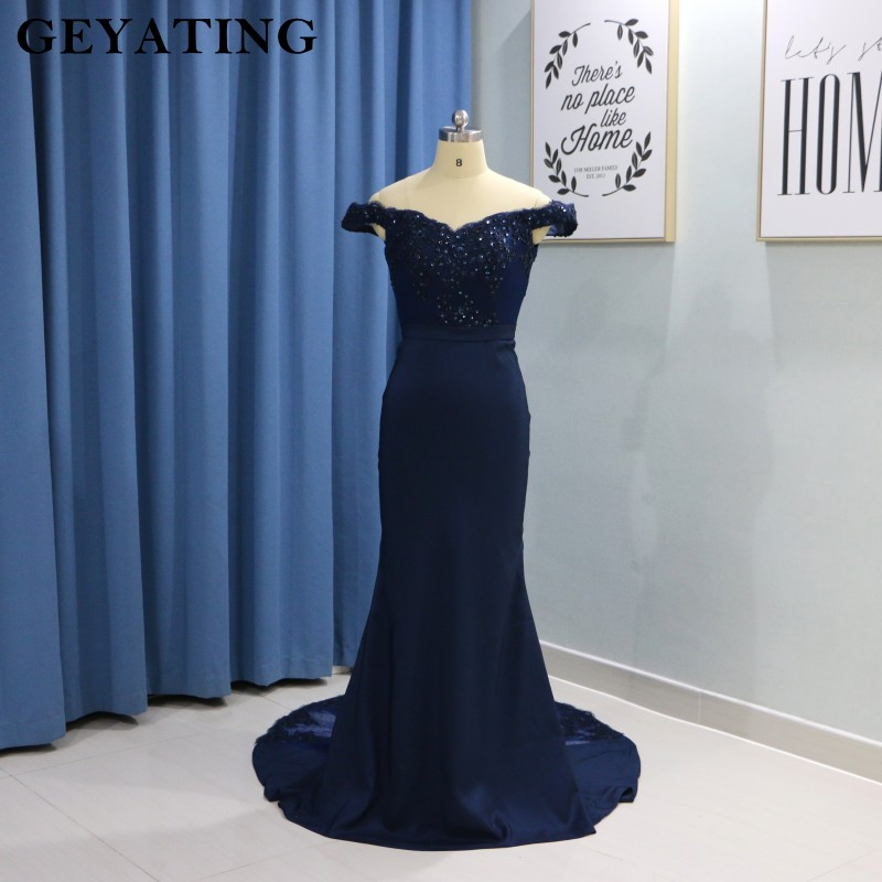 Navy Blue Mermaid Evening Dress 2019 Elegant V-Neck Off The Shoulder Satin Long Prom Party Dresses Cheap Wedding Guest Gowns