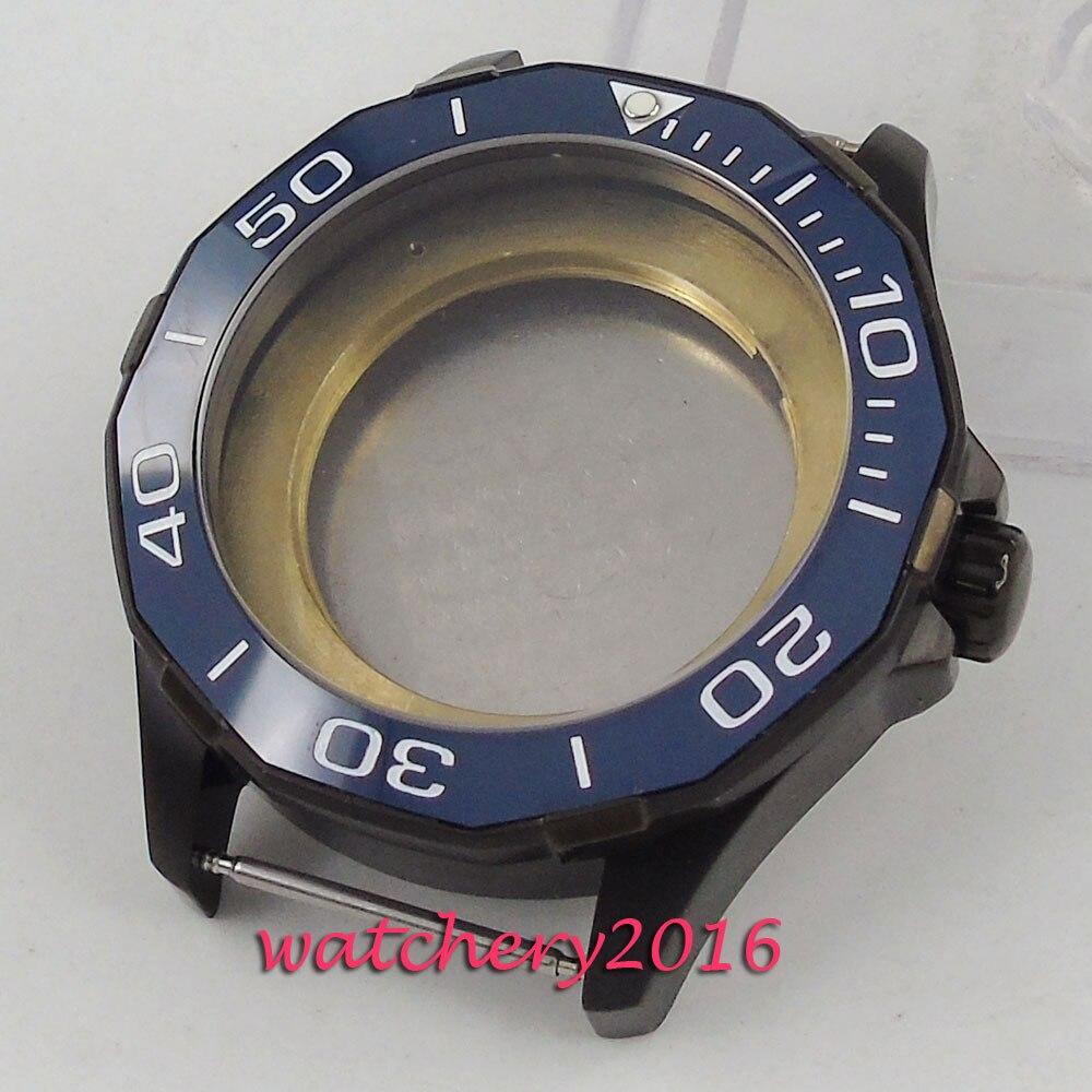 все цены на 45mm Parnis Sapphire Glass Blue Ceramic Bezel PVD Hot Newest Watch Case fit Miyota 82 Movement Men's Watch онлайн