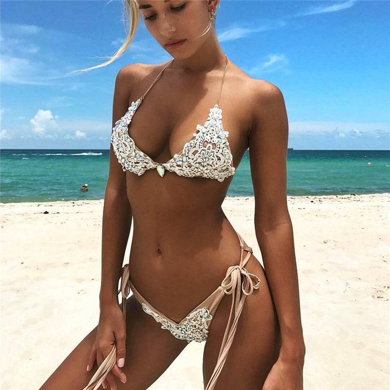 Kmnovo 2018 Crystal Bikinis Women Sexy Swimwear Swimsuit Bandage Bathing Suit Women Bikini Set Hot Beach wear