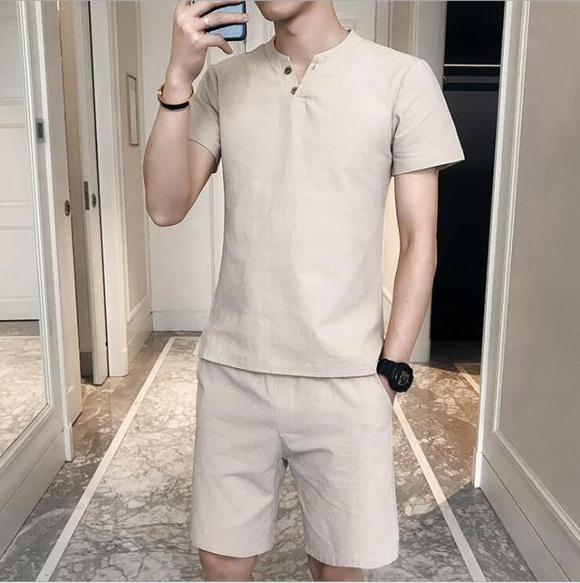 c27aa2e35 Camiseta corta de verano conjunto ropa 2019 transpirable para hombre Casual  playa talla grande S 5XL camiseta moda