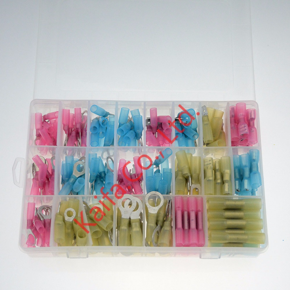 250Pcs/lot Waterproof Heat Shrinkable Wire Crimp Terminals Red Blue Yellow Insulated Butt Connectors 22-10AWG 305pcs insulated 22 10awg terminals cold pressed wire connectors