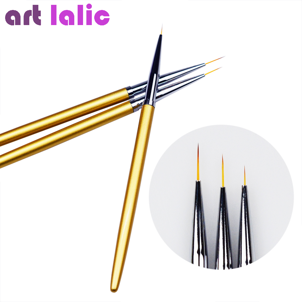 3Pcs Nail Art 5/7/11mm Gold Metal Liner Brushes For Manicure Flower Grid Stripe Wide Line Star Geometry Drawing Painting Pen Kit stylish geometry stripe scarf
