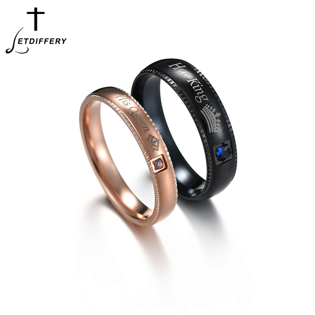 Letdiffery Trendy Couple Rings Her King & His Queen Pink Blue Crytal Stone Stainless Steel Wedding Ring for Lovers