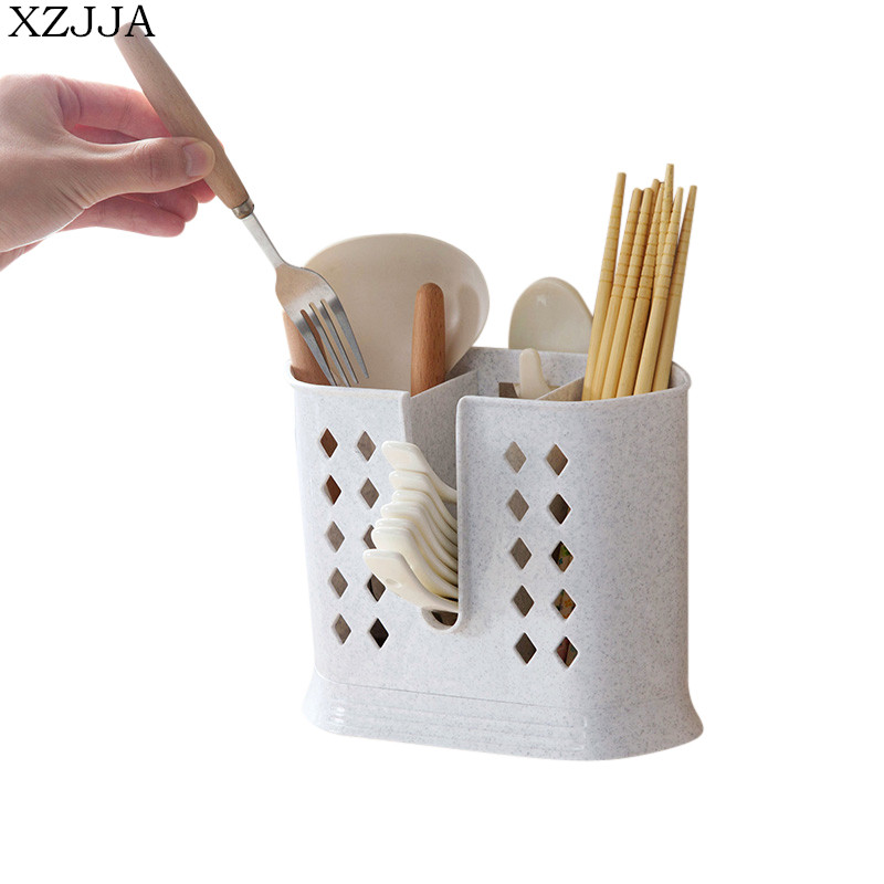 XZJJA Multifunction Kitchen Draining Water Chopsticks Cage Spoon Storage Box Cutlery Organize Holder Hanging Drain Storage Rack