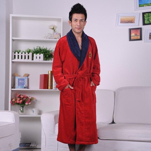 Online Shop Cotton bathrobe men XXL mens nightgown women nightdress ...