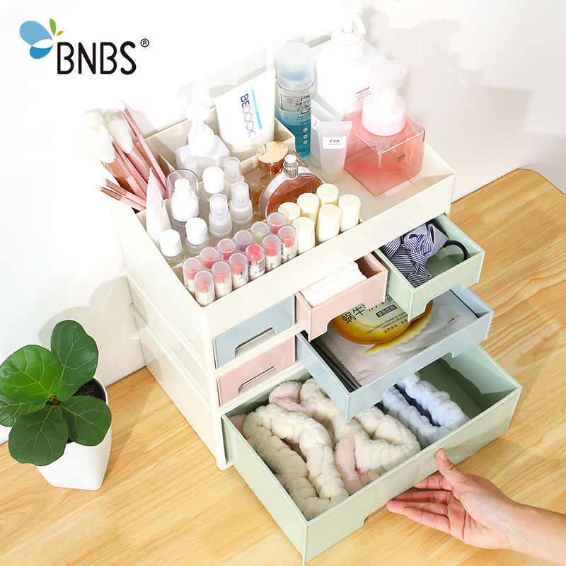 BNBS 1Pcs Combinable Nail Polish Lipstick Storage Box Makeup Organizer Cosmetic Jewelry Case Drawer Desktop Sundries Container
