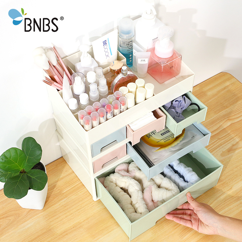 BNBS 1Pcs Creative Combinable Desktop Storage Box Makeup Organizer Cosmetic Jewelry Box Drawer Desktop Sundries Container