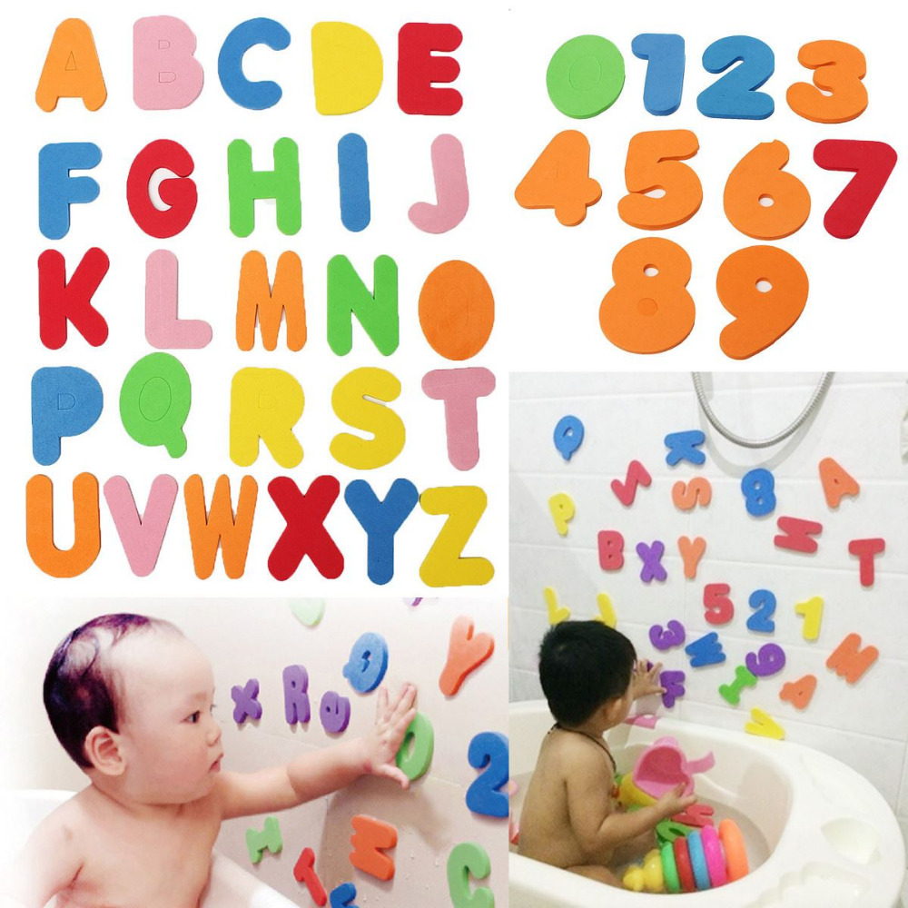 36pcs/Set Alphanumeric Letter Puzzle Baby Bath Toys Soft EVA Kids Baby Water Toys For Bathroom Early Educational Suction Up Toy
