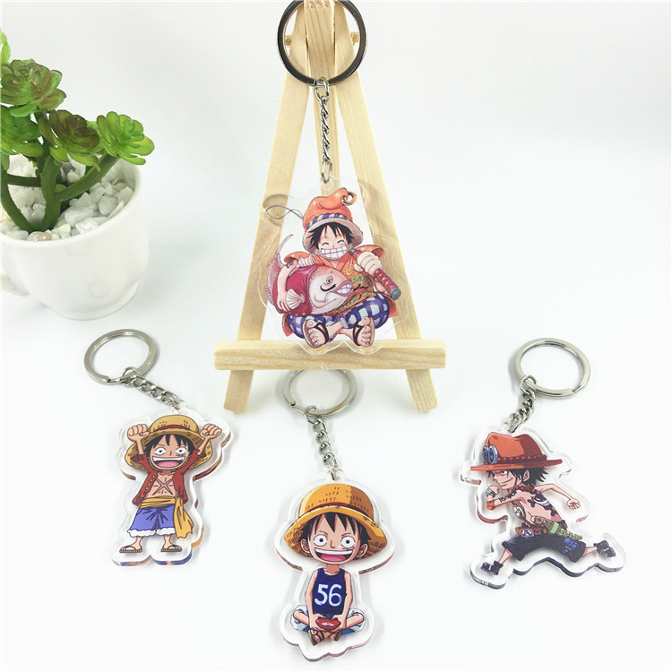 2019 One Piece luffy Keychain Double Sided Key Chain Acrylic Pendant Anime Accessories Japanese Cartoon Key Ring image