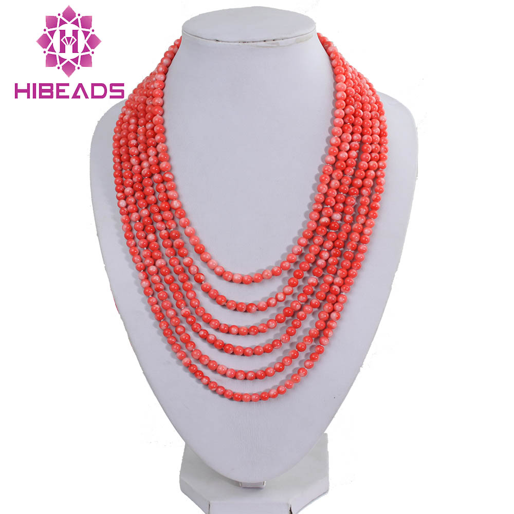 Romantic Small Coral Beads Necklace 5MM Pink Coral Beads Necklace Layers Bride Coral Necklace Free Shipping CB007
