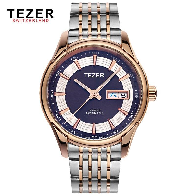 TEZER Top Luxury Brand Full Stainless Steel Men s Mechanical Business Watches 5ATM Waterproof Men Wrist