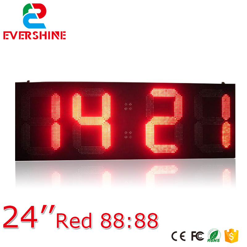 outdoor led digital sign board 24 inch red led clock time date temperature sign for Airport,Train Station bus video led sign p5 flashing led route sign in china