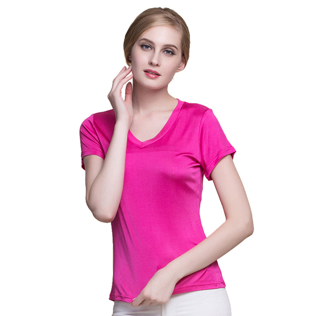 100% Real Silk Women's T-Shirts Femme V Collar Short Sleeve Ladies Wild Candy Color Female Basic Model Women Tee Shirt Tops