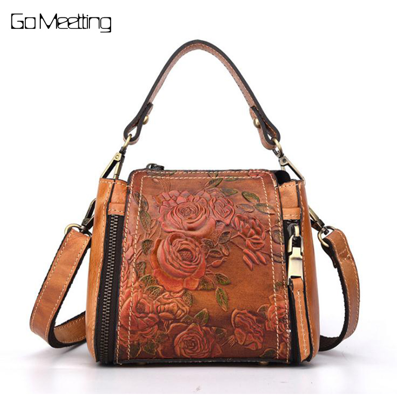 Vintage Fashion Genuine Leather Women Handbag Cow Leather Crossbody Bags Manual embosed Shoulder Messenger Bag Casual Tote