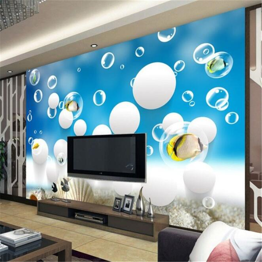 US $9 3 48% OFF|beibehang Custom 3D stereo wallpap papel de parede  underwater world ocean fish theme children's room TV background wall paper  -in
