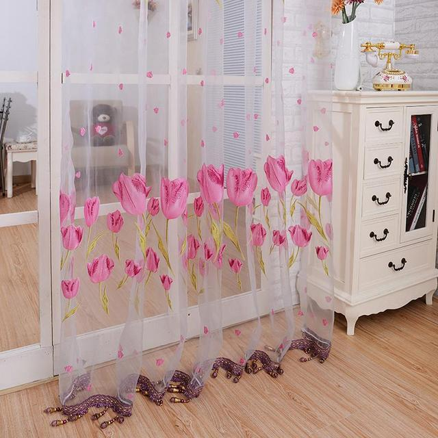 Candy Color Floral Print Window Curtain Pastoral Sheer Panel Scarf ...