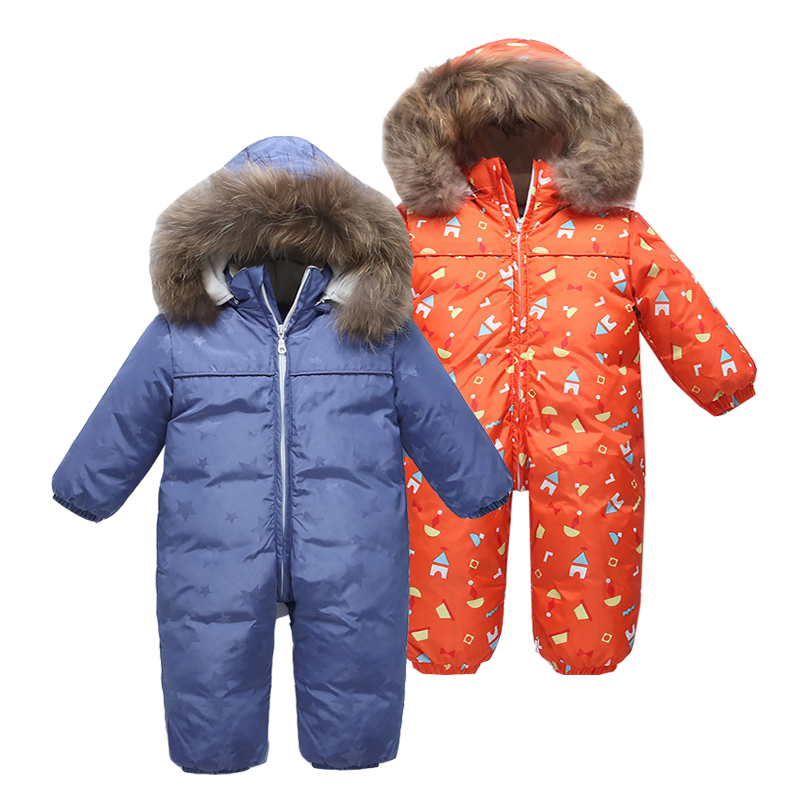 90% Duck Down Jackets Children's Winter Snowsuit   Rompers   Navy Keep Warm Baby Girl Boy Clothes Infantil Outdoor Jumpsuit Hooded