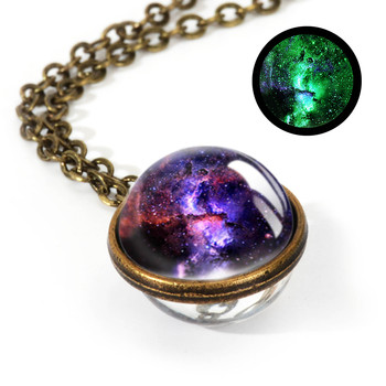 Galaxy Double Sided Pendant Necklace Jewelry Necklaces Women Jewelry Metal Color: LGS0036-Luminous