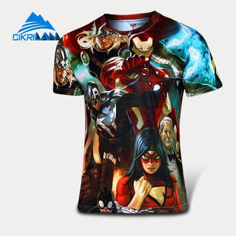 New Summer Super Hero Outdoor Cycling Hiking T Shirt Men Gym Bodybuilding Fitness Running Tights Leisure Sport Climbing T-shirt