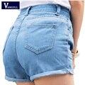 Cortos de mezclilla mujeres femeninas salvaje primavera y el verano de la corto Retro mediados de cintura delgada curling moda lager tamaño jeans cortos calientes