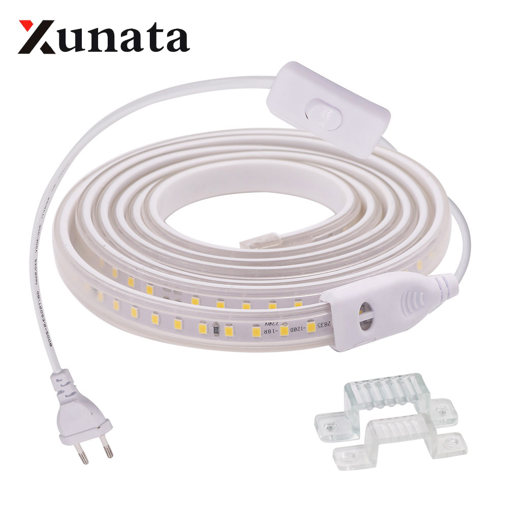 220V 2835 <font><b>LED</b></font> <font><b>Strip</b></font> <font><b>Waterproof</b></font> Warm / <font><b>White</b></font> 60LEDs/m 120LEDs/m Ribbon Tape Flexible <font><b>LED</b></font> Light <font><b>Strip</b></font> Lamp For Home Decoration image