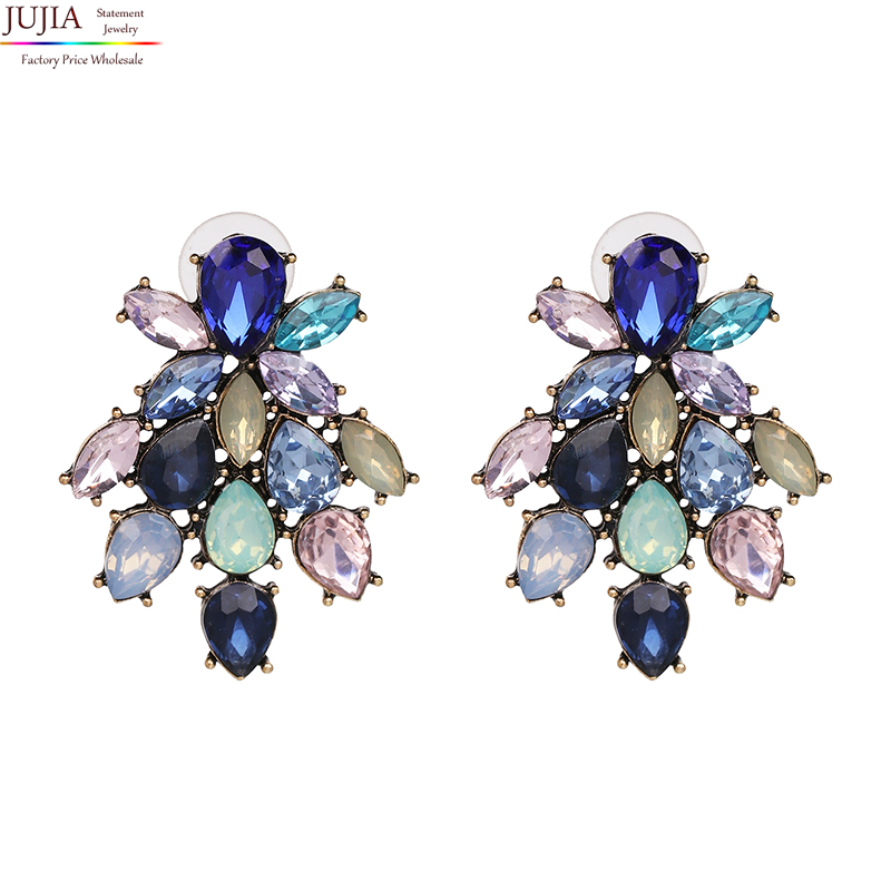 JUJIA New 2018 good quality Trend fashion earring for women hot sale women crystal vintage statement Earrings