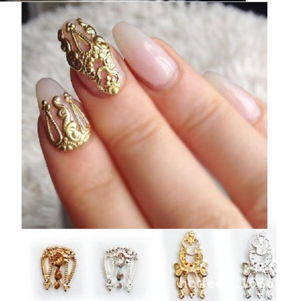 4Designs(20pcs/lot) 3D Metal Gold Vintage Nail Art Metal Decoration Mixed  Design - 4Designs(20pcs/lot) 3D Metal Gold Vintage Nail Art Metal