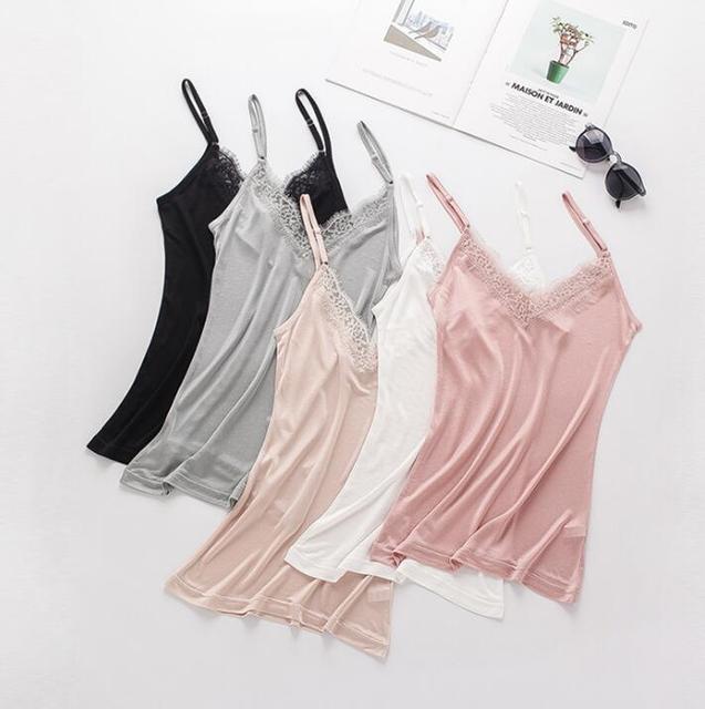 1pc 50% Silk 50% Viscose Knit V neck Lace Camisole Top Vest Shirt Sleepwear Spaghetti Strap SS005 1