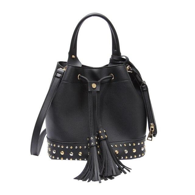 327db455dbbc Fashion Designed Small Bucket Rivet Tote Shoulder Bag Lady Hasp Tassel  Crossbody Bag Vintage Casual Leather Girls Handbag D39