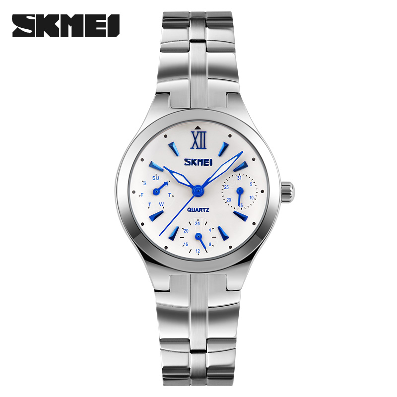 women quartz watch SKMEI brand steel watch luxury 6 hands waterproof wristwatches hot business ladies silver