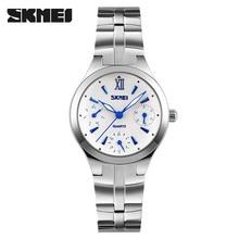Mujeres reloj de cuarzo skmei marca reloj de lujo 6 manos de acero impermeable relojes de pulsera de negocio caliente señoras plata reloj reloj mujer