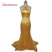 2017 Sexy halter vestido de noite ouro ruffled cetim até o chão longo vestido de noite da sereia cortar vestidos backless vestidos de festa de celebridades