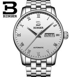 Szwajcaria BINGER męski klasyczny styl mechaniczne zegarki wodoodporny luksusowy automatyczny zegarek ze stali nierdzewnej Relogio Masculino