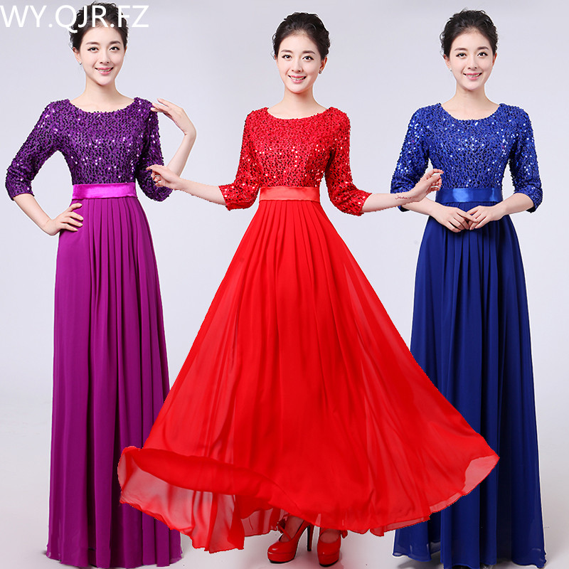 XYF01#2018 spring summer new chorus costumes paillette Red blue and purple long   bridesmaid     dresses   wedding party prom   dress