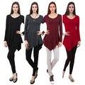 Женщины Сплошной Цвет С Длинными Рукавами Нерегулярные Хем V Шеи Повседневный Топ Основные T-Shirt