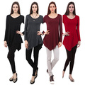 Women Solid Color Long-Sleeved Irregular Hem V Neck Casual Top Basic T-shirt