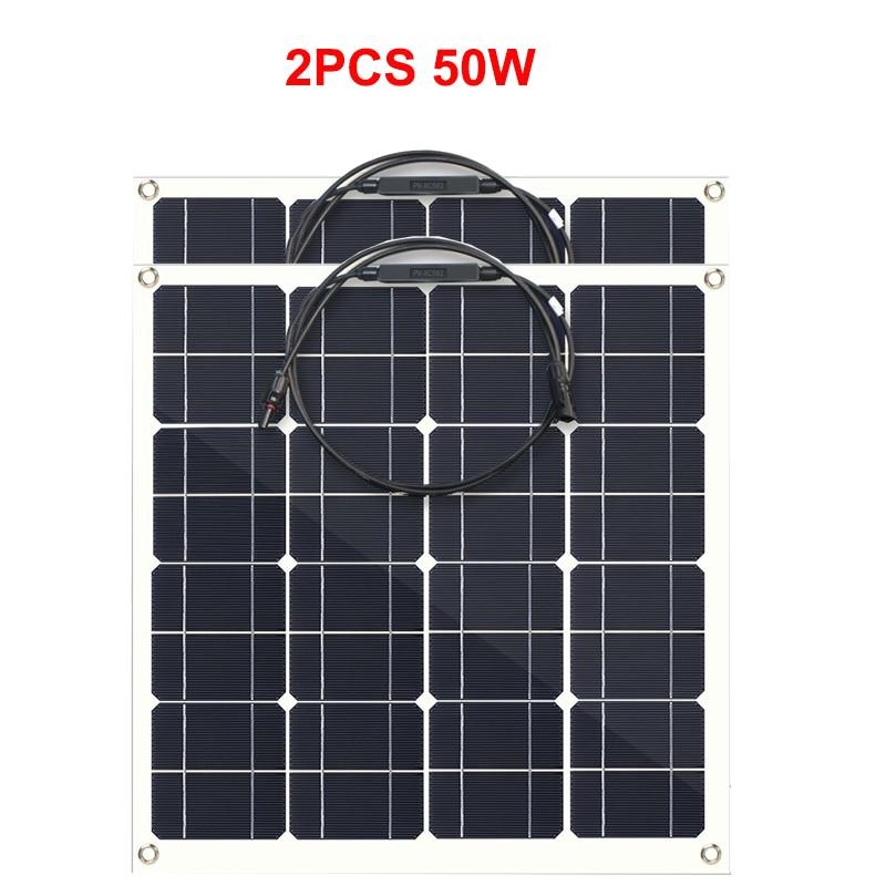 2pcs flexible solar panel 50w 18v photovoltaic panel panel solar 12v battery charger solar panel china