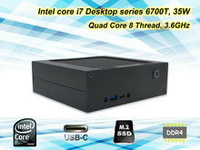 Diy mini pc con intel core i7 de escritorio 6700 t cpu 4c8t up a 3.6 GHz 8 GB DDR4 Gloway RAM + 128G Sandisk M.2 SSD 2280, caja del juego(China (Mainland))