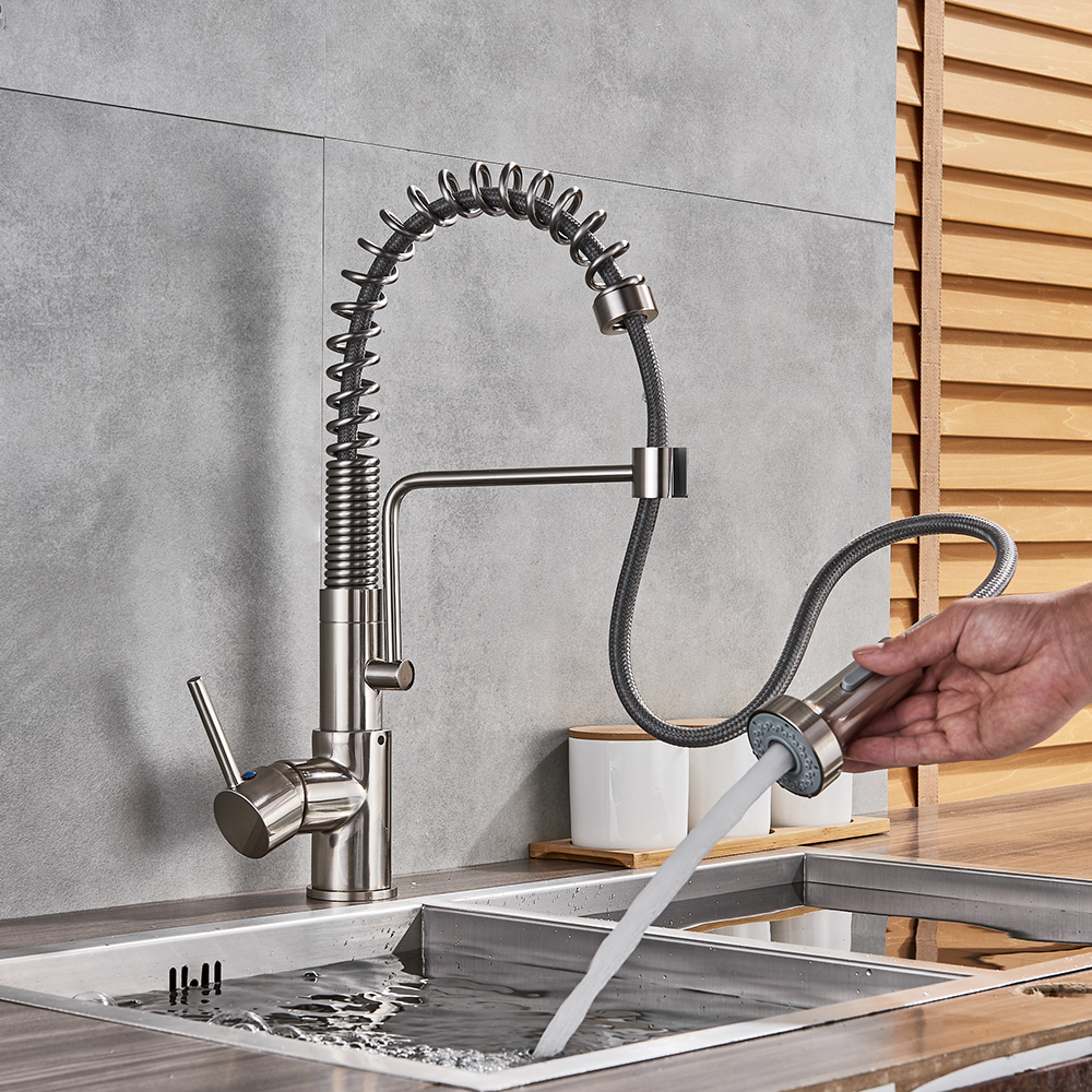 Nickel Brushed Spring Kitchen Faucet Pull out Sprayer Dual Spout Single Handle Mixer Tap Sink Faucet 360 Rotation Kitchen Faucet polished chrome single handle kitchen sink mixer faucet dual spout hands free sprayer with lock