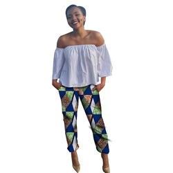 Модные Африка печатных Для Женщин Дашики до середины икры Длина Брюки для девочек дамы досуг прямо в середине Талия Мотобрюки для