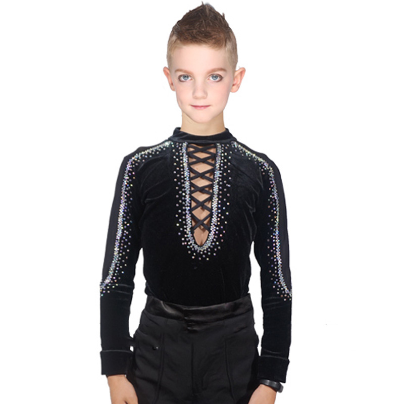 Latin Dance Shirts Men Boys Long Sleeve Modern Dance Costumes For Kids Competition Performance Wear Stage Show Clothing DN1092